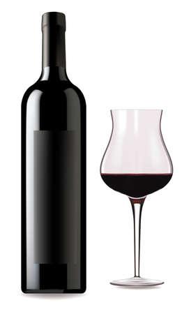 Vaso de vino tinto y botella sobre un fondo blanco.