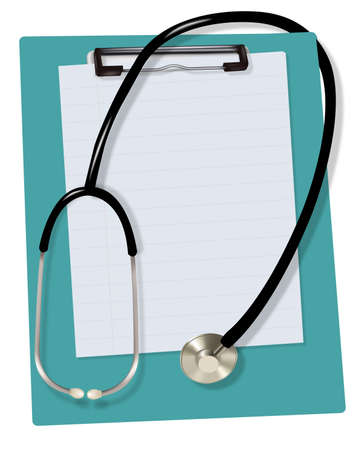 Stethoscope and blank clipboard with a sheet of white paper on it. Vector. Vector
