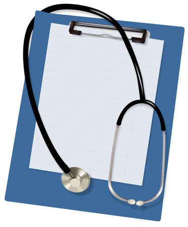 background check: Stethoscope and blank clipboard. Vector