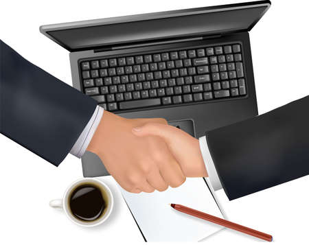 negotiating: Handshake over paper and computer in the background. Vector.  Illustration