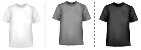Black and white men polo shirts and t-shirts. Photo-realistic vector illustration Stock Vector - 9214651