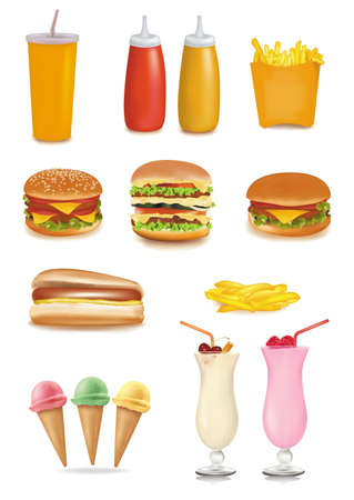 unhealthy food: Photo-realistic vector. Big group of fast food products.