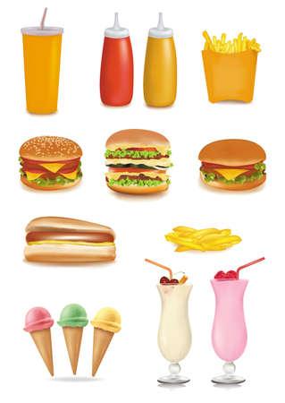 eating fast food: Vector de calidad fotogr�fica. Grupo de productos de comida r�pida.