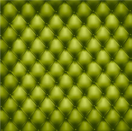 red couch: Sullo sfondo di pelle verde trapuntati a pulsante. Illustrazione vettoriale.