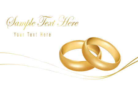 anillos boda: Ilustraci�n vectorial de calidad fotogr�fica. Dos anillos de boda oro.