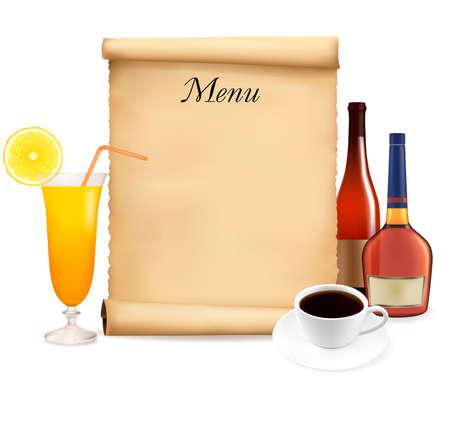 종이와 커피의 오래된 스크롤에있는 레스토랑 메뉴. 벡터.