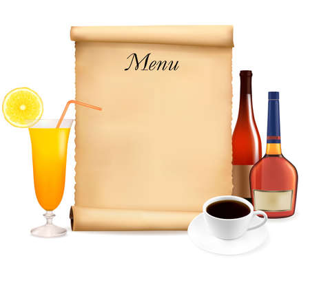 old kitchen: Restaurant menu on the old scroll of paper and coffee. Vector.