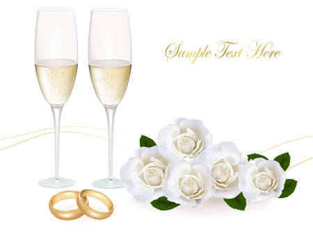 Wedding rings, roses bouquet and champagne. Vector illustration.  Illustration