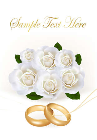 marital: Wedding rings and roses bouquet. Vector illustration.