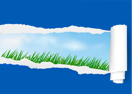 View on the landscape through ripped paper. Vector.  Vector