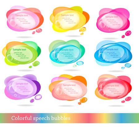 burbujas de pensamiento: Colecci�n de discurso colorido y burbujas de pensamiento. Vector.