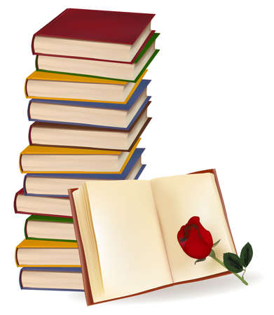 large office: Books and red rose on white background. Photo-realistic vector illustration.