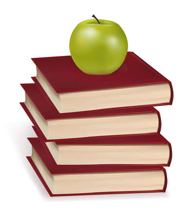 textbooks: Green apple laying on the four books. Photo-realistic vector illustration.  Illustration
