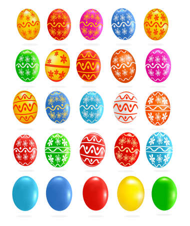 Big set with colorful Easter eggs. Stock Vector - 9304506