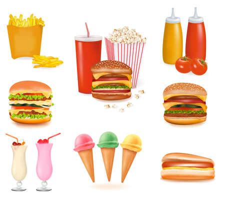 Gran conjunto de productos de comida rápida.  Ilustración de vector