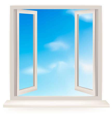 Fenêtre ouverte contre un mur blanc et le ciel nuageux.