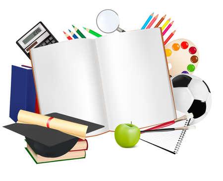Retour à l'école. Bloc-notes avec des fournitures scolaires.