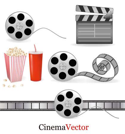 Big set of cinema objects. Vector