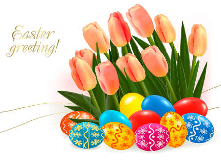 Background with Easter eggs with pink tulip flowers. Vector