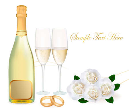 Wedding rings, roses bouquet and champagne. Vector