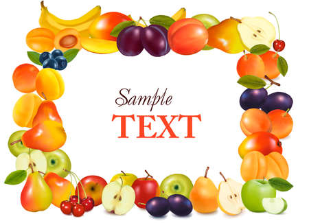 Frame made from fruits.  Stock Vector - 9304528