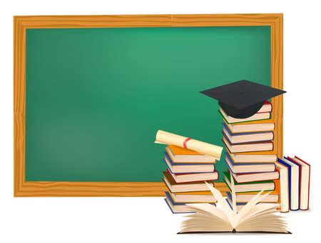 문학의: Stack of colorful books and graduation cap.  일러스트