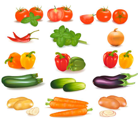 tinge: The big colorful group of vegetables.