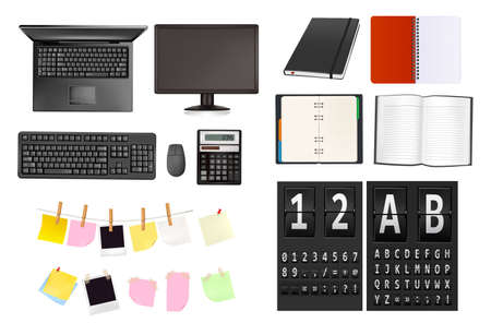 Business and office supplies and alphabet of black mechanical panel. Stock Vector - 9304522