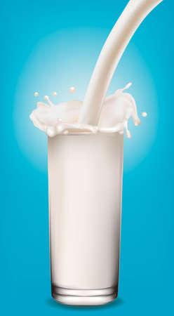 Milk splash in a glass on blue background. Vector illustration. Stock Vector - 9335199
