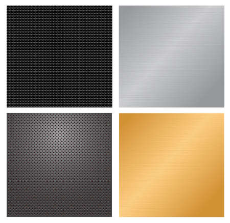 Four glossy metallic  textured backgrounds. Vector illustration  Vector
