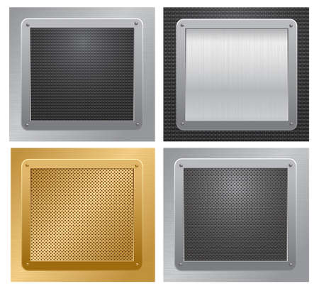 Four glossy metallic plates on a textured backgrounds. Vector illustration Stock Vector - 9335204