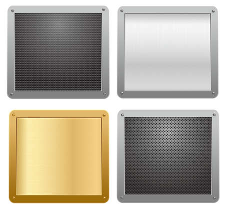 Four glossy metallic plates. Vector illustration Stock Vector - 9335205