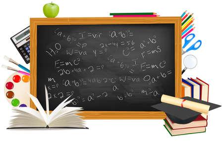 Retour à l'école. Bureau noir avec des fournitures scolaires. Vecteur.