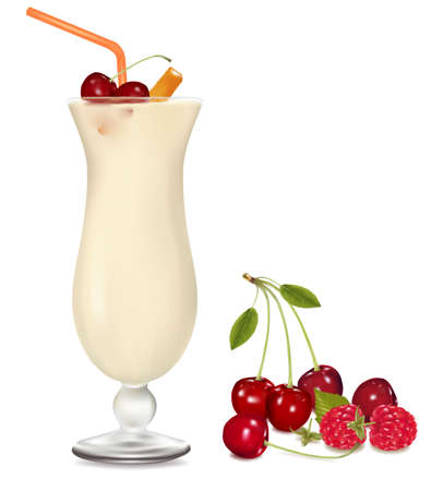 Cocktail with cream, cherry and rum. Vector.