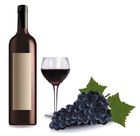 A wine bottle and glass of red wine and some grapes. Vector.  Vector