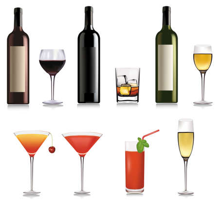 Set of cocktail. Vector illustration.