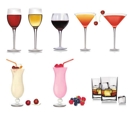glass containers: Set of different drinks and cocktails. Vector illustration.