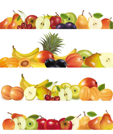 Three fruit design borders isolated on white. Vector.  Vector