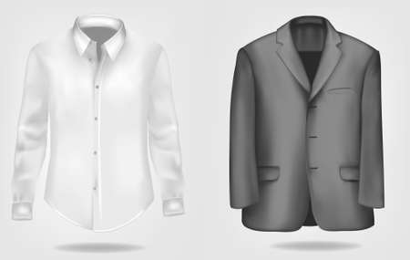 formal shirt: Black and white shirt and suit.