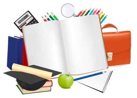 Regreso a la escuela. Bloc de notas con material escolar.  Ilustración de vector