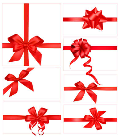 Big set of red gift bows with ribbons. Illustration