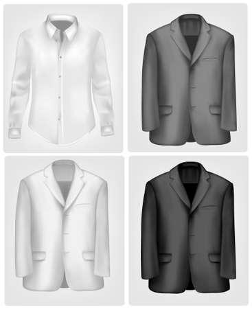 chaqueta: Camiseta de blanco y negro y traje.