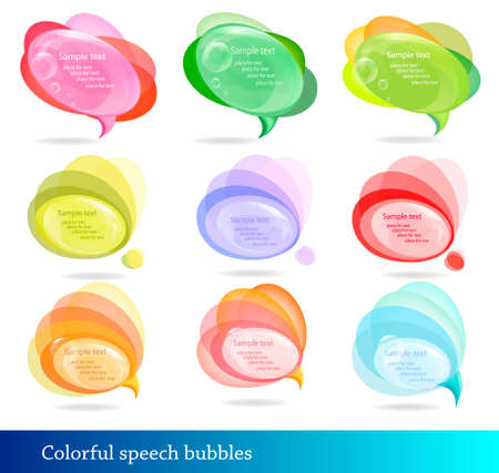 Collection of abstract colorful speech and thought bubbles.  Vector