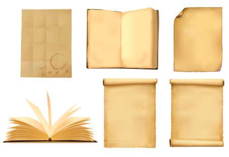 burned: Set of old paper sheets.