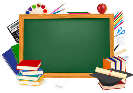 Back to school. Green desk with school supplies Vector