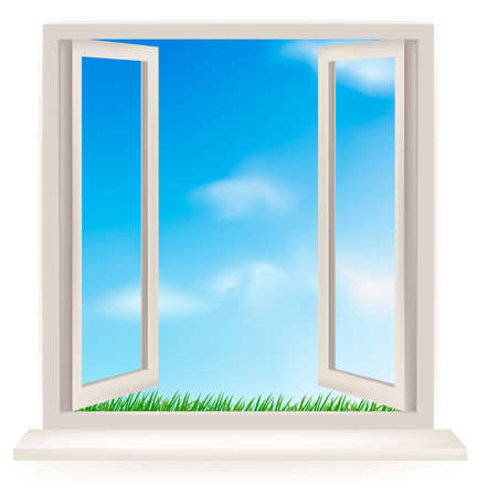 white window: Ventana abierta contra una pared blanca y el cielo nublado.