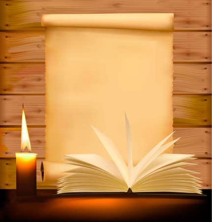 writing book: Vecchia carta, candela e libro aperto sullo sfondo di legno.