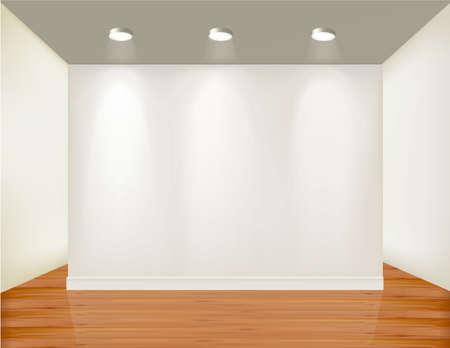 Leere Rahmen an Wand mit Spotlichter und Holz Hintergrund.