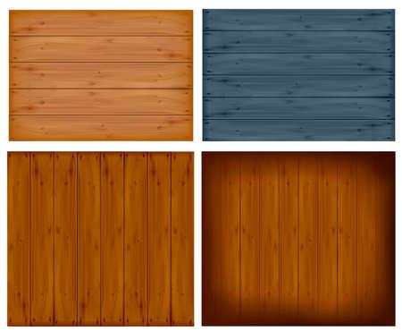 Conjunto de paneles de madera de pared.  Ilustración de vector
