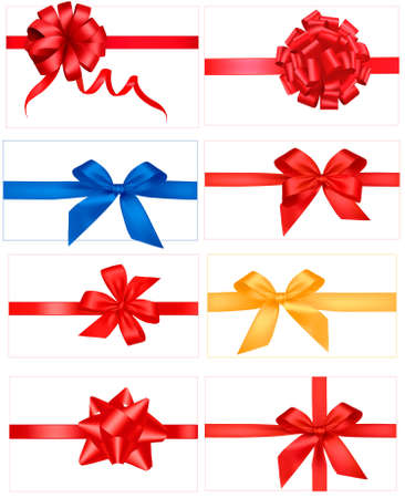 Big set of gift bows with ribbons. Vector.  Stock Vector - 9459829